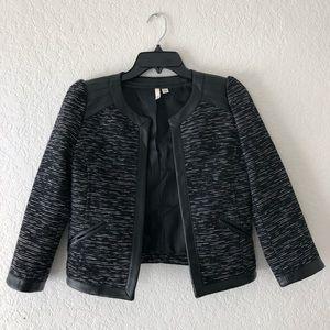 Frenchi Tweed and Faux Leather Jacket